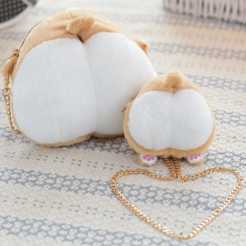 цена Cute Pet Dog Butt Plush Coin Bag Corgi Butt Shape Coin Purse Animal Plush Bag Creative Corgi Girl's Bag Mini Purse