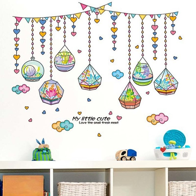 Cartoon crystal bottle wall stickers home decor living room diy art mural decals removable pvc love