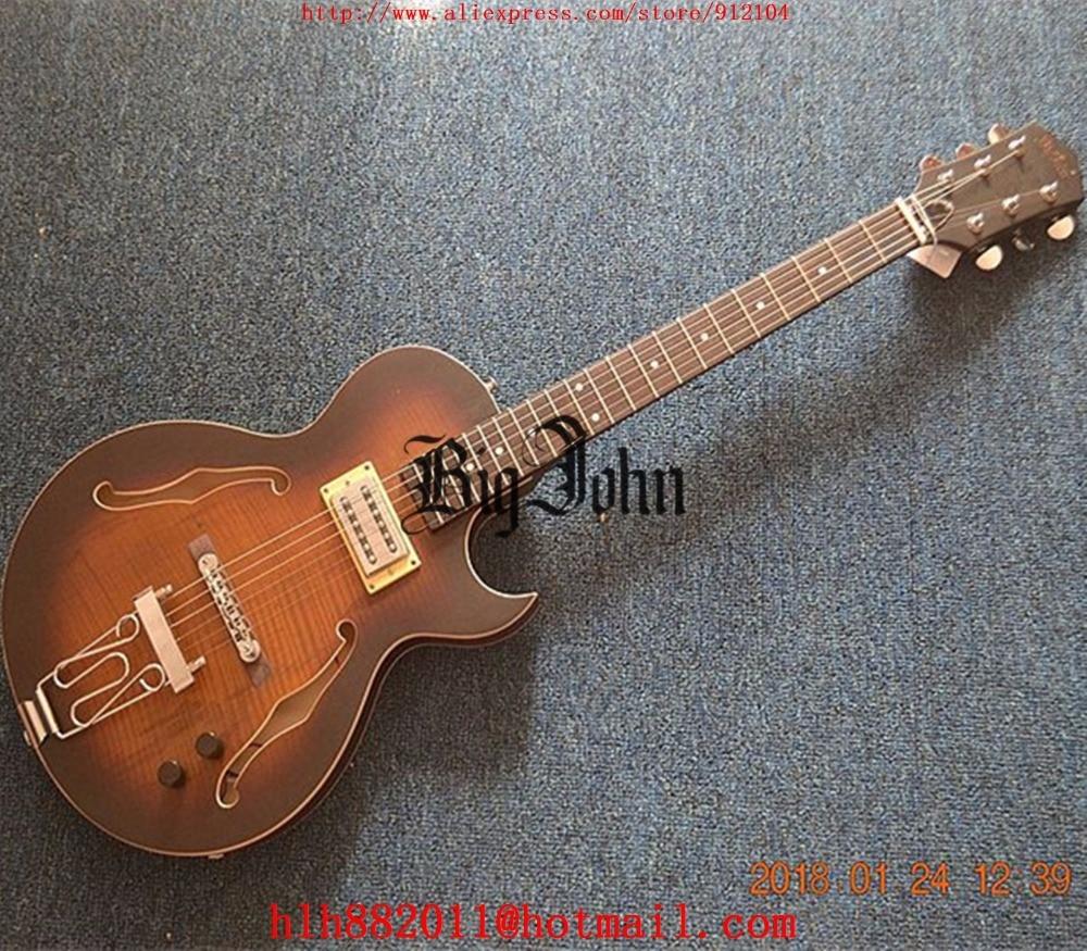 Livraison gratuite nouveau Big John F trou guitare électrique dans fumé couleur avec corps en acajou F-3418
