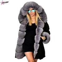 New Women Parka Casual Warm Outwear Hooded Coat Fur Manteau Woman ClothesThick Furs Military Coat Plus Size Fur Jacket Women