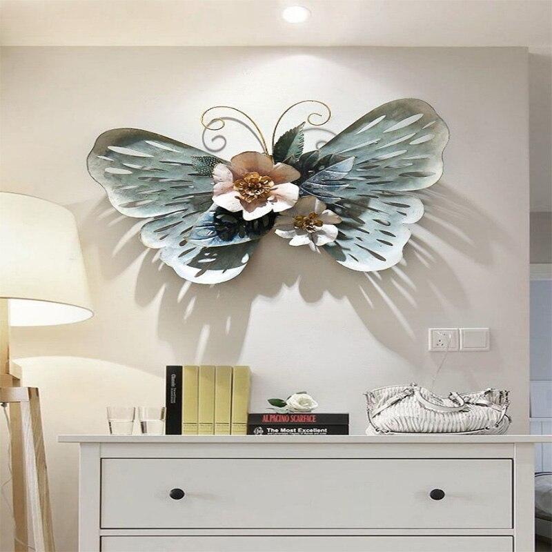 Простые украшения для стен ресторана Европейский Стиль 3D стерео кованого железа бабочка настенное крепление креативное украшение дома R1270 - 4