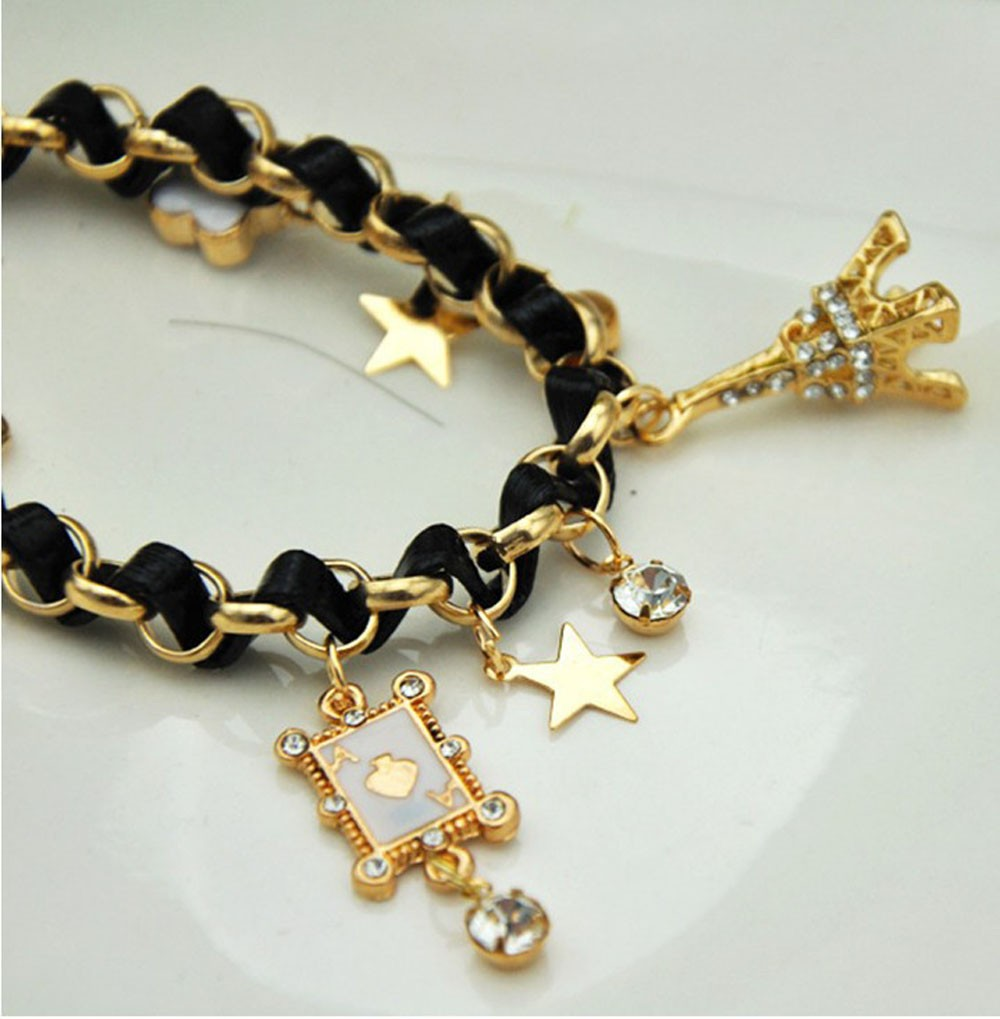 Vienkim New Hot sell  Fashion Jewelry Multielement Gold Chain Leather Rope Crystal Handmade Bracelet Eiffel Tower Star Pendant 14