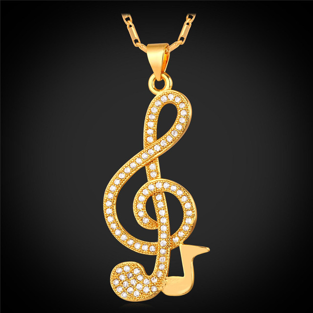 Music Note Zirconia Pendant Necklace Artistic Pod