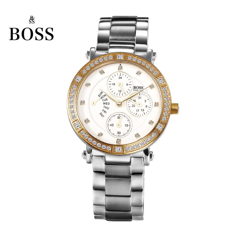 BOSS Germany watch women luxury brand diamond stainless steel multifunction watch waterproof fashion golden relogio feminino