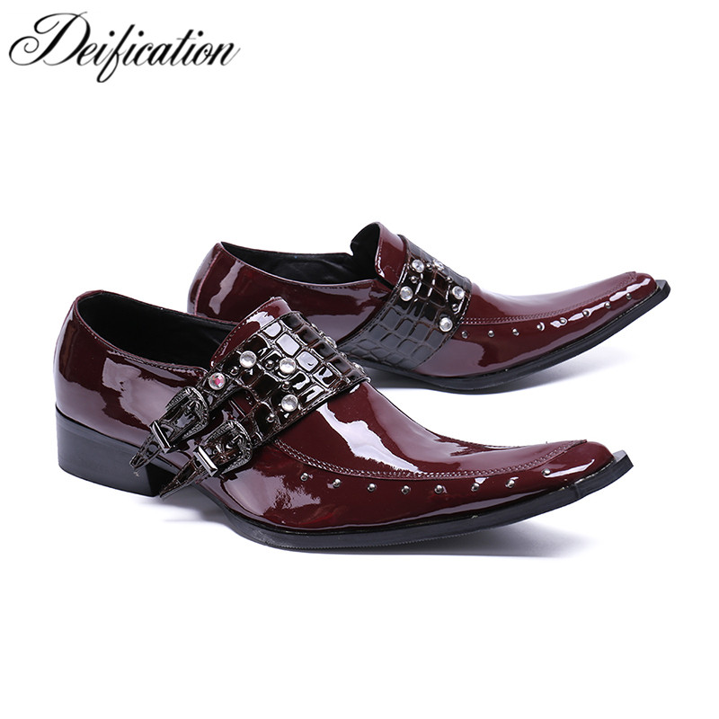 Fashion Wine Red Gentleman Wedding Dress Shoes Square Toe Sepatu Pria Chic Buckle Straps Men Shoes Leather Flats Zapatos Hombre