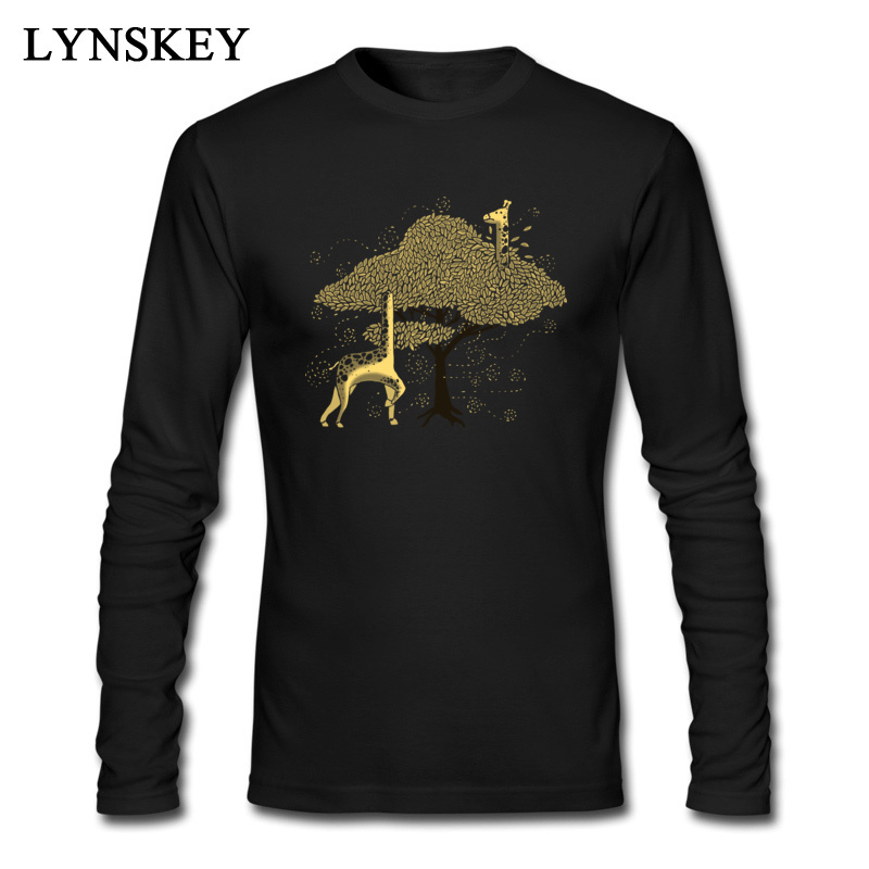 Giraffe Lost In Africa Long Sleeve Youth Men T Shirt Funny 3D Printing Long Sleeve Round Collar Fashion Tops & Tees