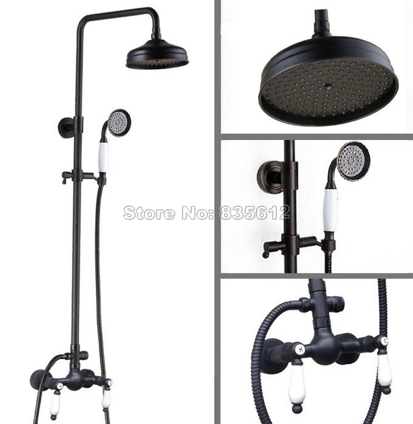Black Oil Rubbed Bathroom Rain Shower Faucet Set with Handheld Shower Head & Wall Mounted Dual Ceramic Handles Mixer Taps Wrs478