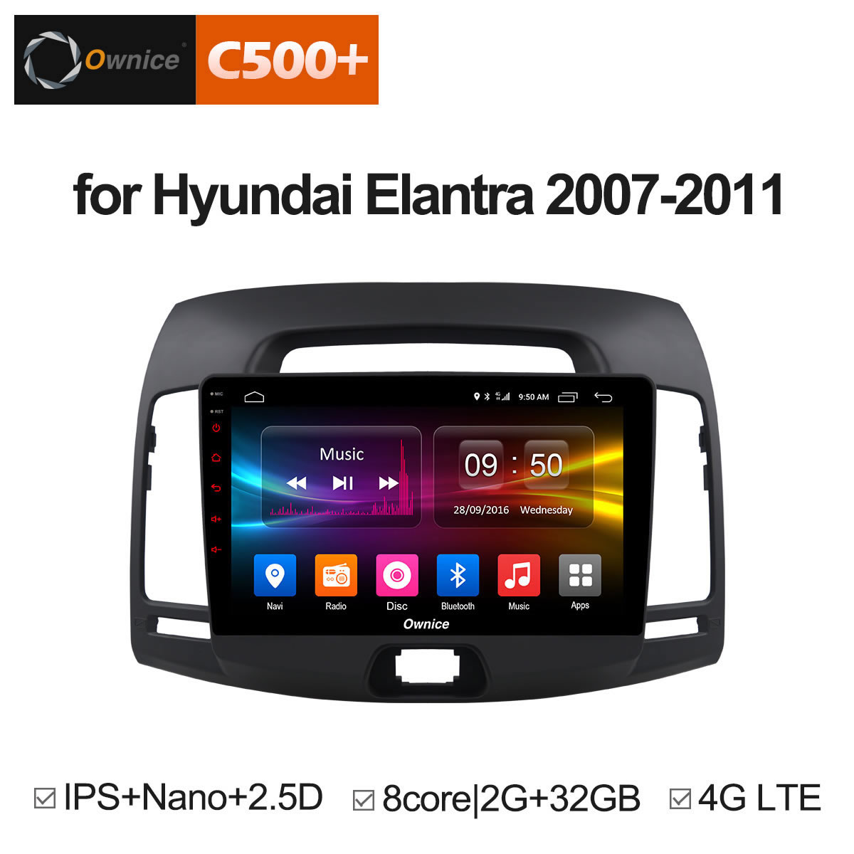 Ownice C500 + G10 Android 8.1 DVD de voiture lecteur multimédia pour Hyundai Elantra 2007-2011 GPS navi bluetooth radio 8 core 4g LTE DVR