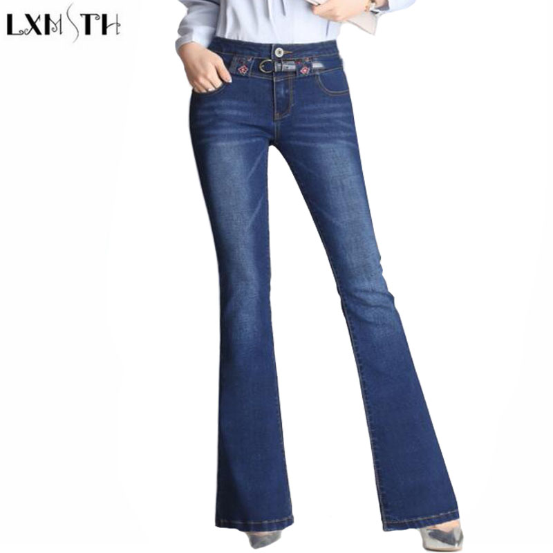 LXMSTH New 2017 Autumn Stretch Flare Pants Women Korean High Waist Thin Wide leg Jeans Woman Plus Size Casual Denim Trouser Pant fashion autumn embroidery high waist flare jeans pants plus size stretch skinny jeans women wide leg slim hip denim boot cuts