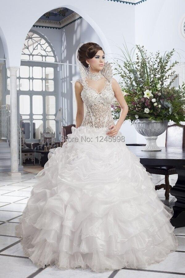 custom made 2015 newest design luxury beautiful wedding dress lace beads corset ruffles organza skirt removable