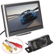 Coche horizon pantalla hd de 5 pulgadas tft lcd panel del coche del color Monitor de Visión trasera + 7 Luces DEL IR de Visión Nocturna Que Invierte el Respaldo cámara