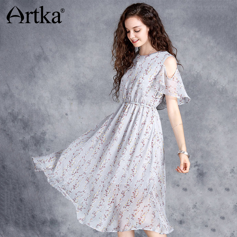 ARTKA 2018 Summer New Women Printed Chiffon Long Dress Short Sleeve Off the Shoulder Big Swing
