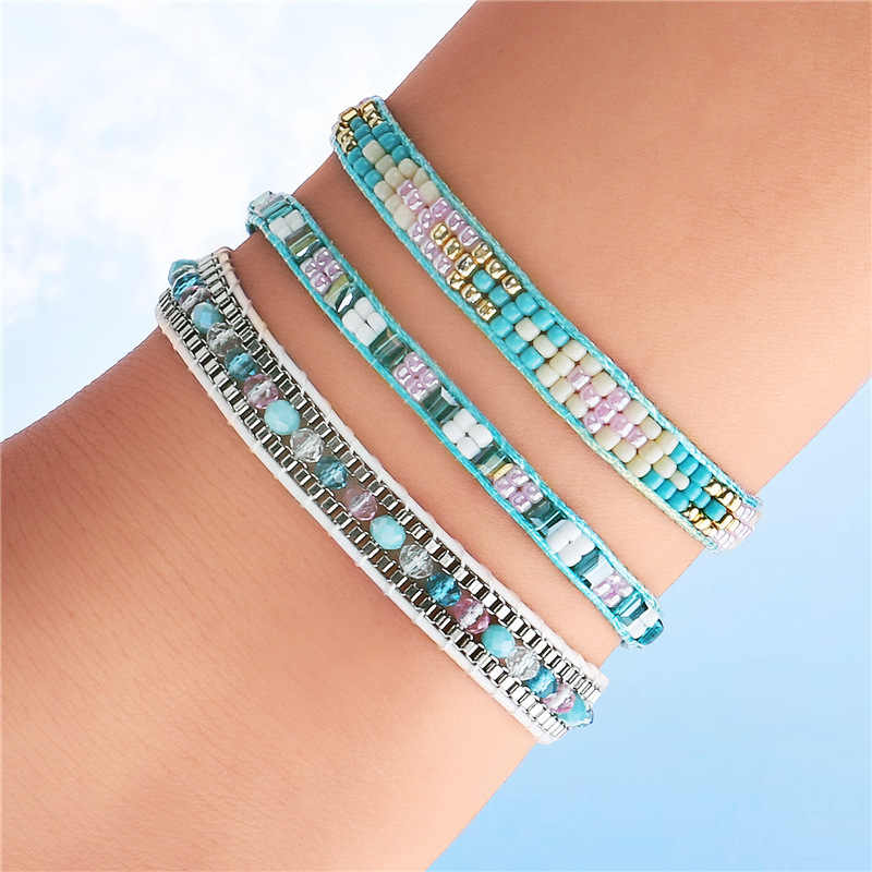 Bohemia Multicolour MIYUKI Beads Bracelet & Bangle For Women Adjustable Charm Ethnic hand Jewelry Gift 3pics/pack