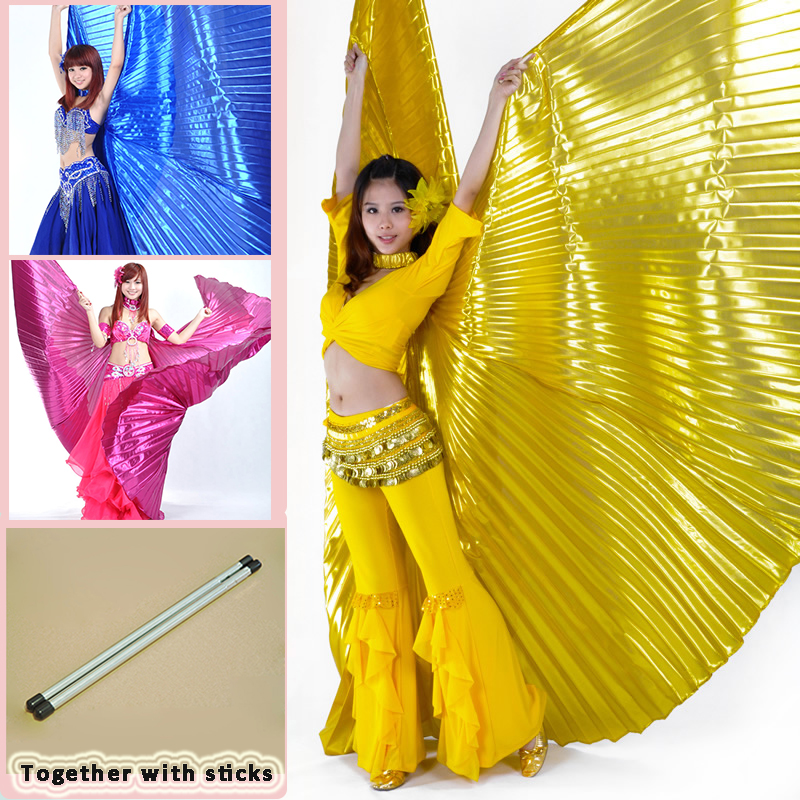 2019 Hot Selling Popular Women Egyptian Belly Dance Isis Wings Golden Belly Dancing Wing With Telescopic Rod Stick On Sale