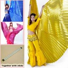 2019 sıcak satış popüler kadın mısır oryantal dans Isis kanatları altın oryantal dans kanat teleskopik çubuk ile sopa satışa