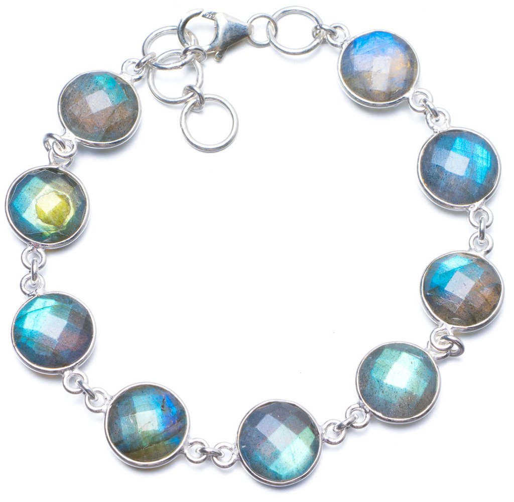 цена Natural Blue Fire Labradorite Handmade Unique 925 Sterling Silver Bracelet 7 1/4-7 3/4
