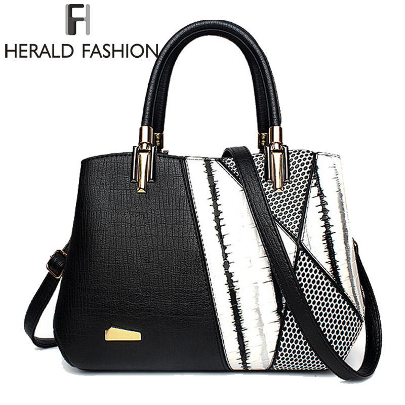 Herald Fasion Women Brand New Design Handbag Black And White Stripe Tote Bag Female Shoulder Bags High Quality PU Leather Purse 2016 new women s black and white stripe bag color block print flap handbag brief messenger bag