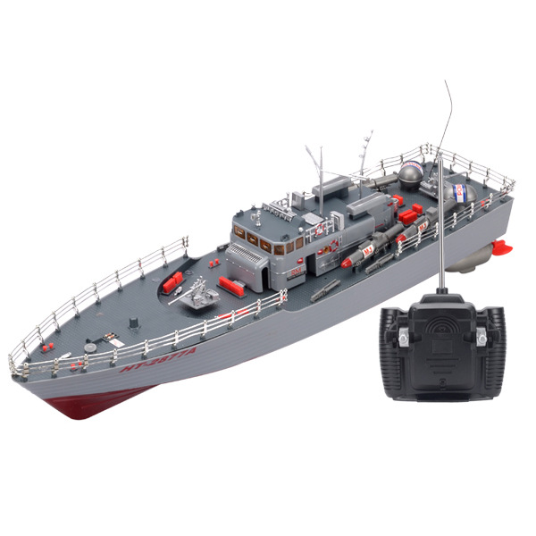 High Quality 2877A Wireless Remote Control Anti Boat Capsize Simulation Military Model of Children's Outdoor Water Boat