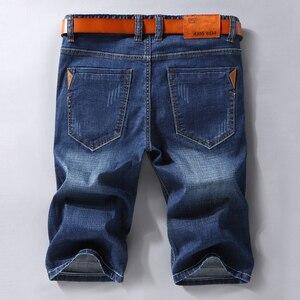 Image 3 - 男性デニムショートパンツ 2020 夏新スタイル薄肉弾性力スリムフィットショートジーンズ男性ブランド衣料黒青