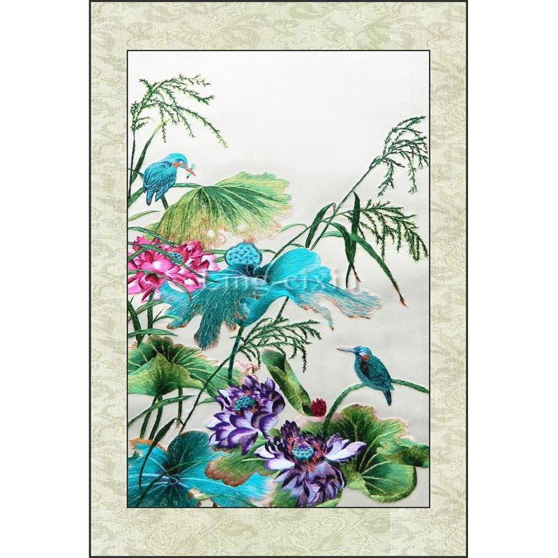 Бродерия завършена / Суджоу Класическа бродерия / Китайска традиционна бродерия / Кръстат завършен-Птици лотосови цветя