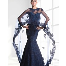 2015 Elegant Dress Party Evening With Long Jacket Mermiad 2015 Lace New Arrivel Formal Dresses Evening