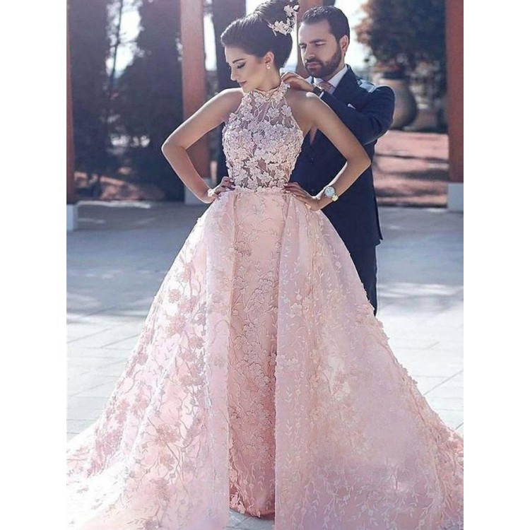 BRITNRY Luxury Halter Neck Pink Lace
