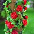 Шелковые Ткани, Искусственные Цветы Поддельные Моделирование Красный Розовый Шампанское Розы Плющ Гирлянды Завесы для Дома Свадебные Украшения