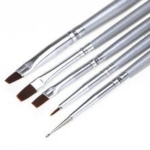 2016 New Arrival 5pcs/1set UV Gel Acrylic Nail Art Brush Set Art Builder Painting Pen Design Soft Beauty Nail Art Makeup Tools