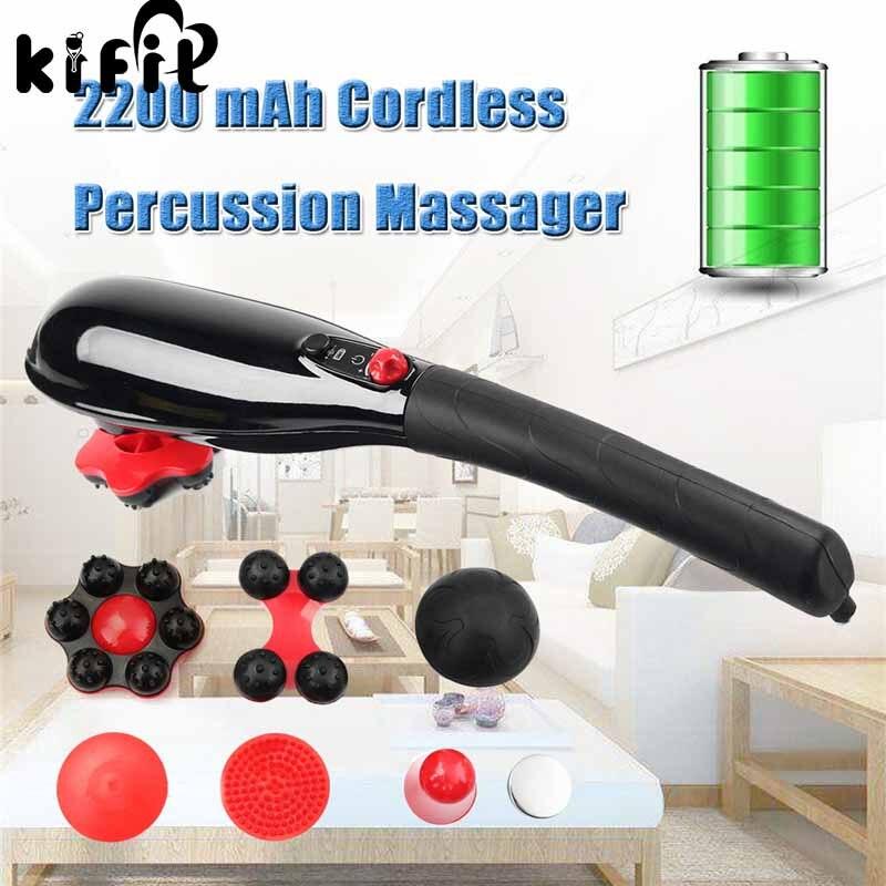Brand New 5 Speed Cordless Percussion Massager Handheld Full Body Massage Stick Roller Vibration Gold Neck Back Feet