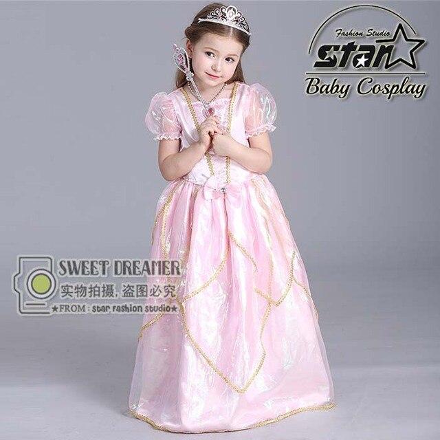 51e0afbdf Kids Short Sleeve Princess Dress Girls Pink Elsa Sofia Snow White ...