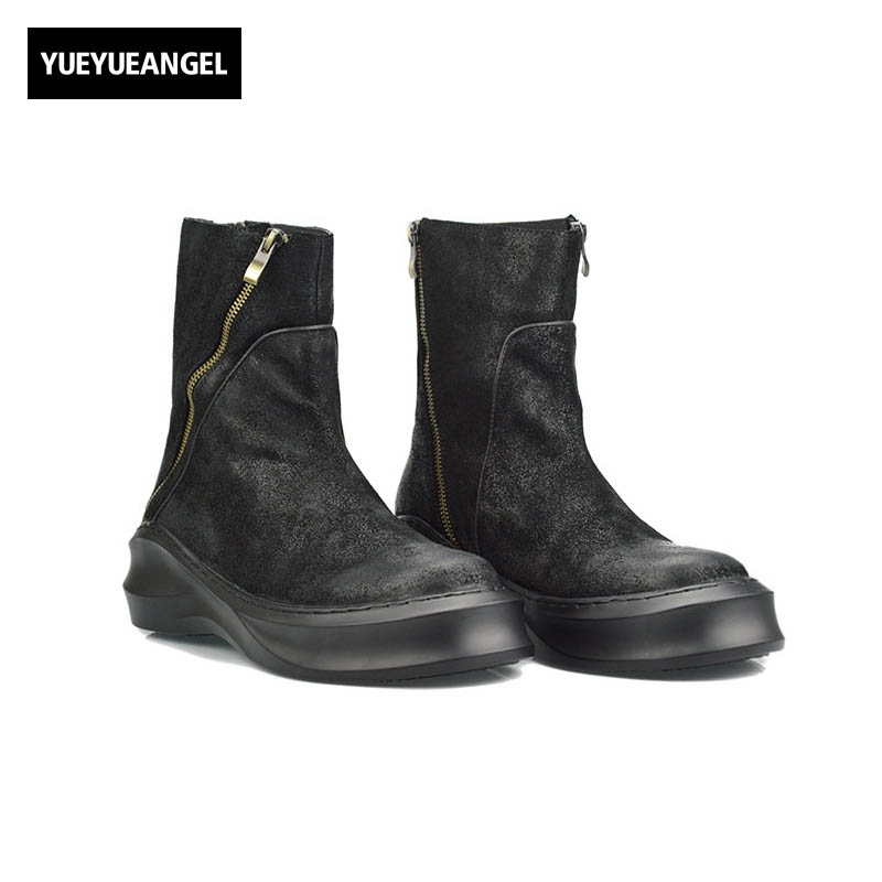 2017 New Fashion Mens Zipper Winter Genuine Leather Cow Round Toe Sewing England Style Male Boots Thick Bottom Plus Size Black