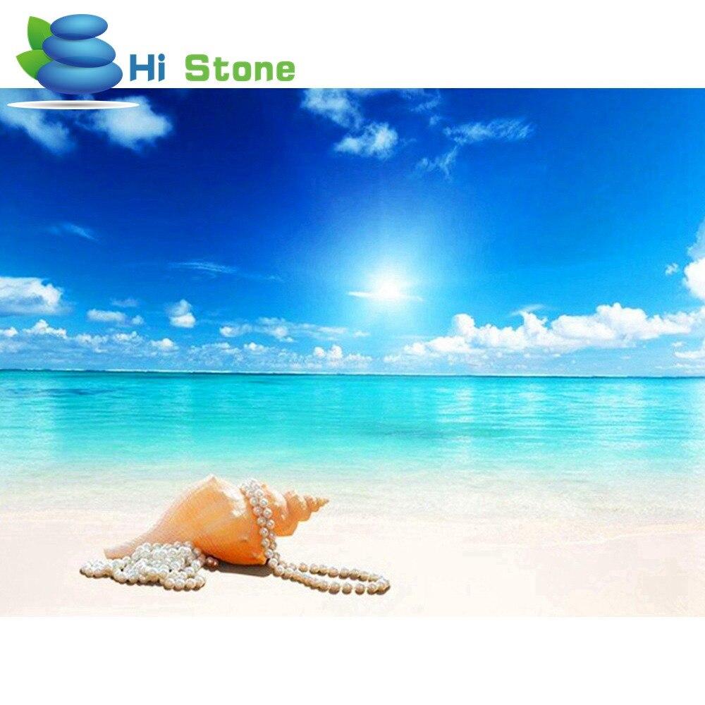 5D поделки алмазов картина морской пейзаж полный квадрат горный хрусталь вышивка крестиком Алмазная вышивка раковины мозаики украшения под...