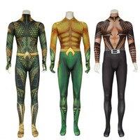 Movie Aquaman Cosplay Costume Adult Jumpsuit Spandex Zentai Halloween Party Bodysuit for Men