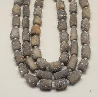 Nautral Gray Druzy Achate Beads Pendant,Center Drilled Nugget Beads,Rough Grey Stone Cylinder Jewelry Making,14 16x12 22mm