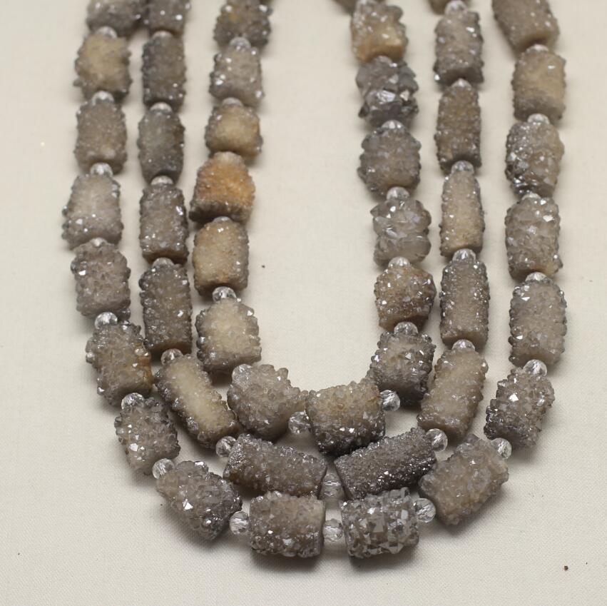 Pendentif de perles d'achate Druzy gris naturel, perles de pépite percées au Center, fabrication de bijoux de cylindre de pierre gris brut, 14-16x12-22mm