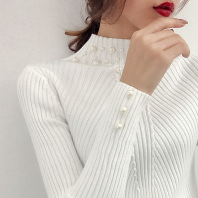 New Autumn - Winter Women Pearl Beaded Sweater Slim Women Knit Sweater and Pullover 3
