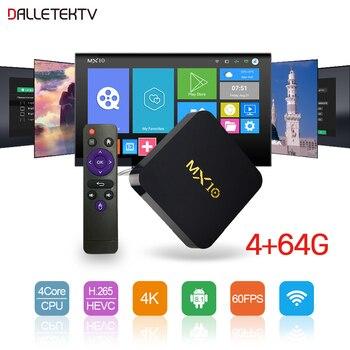 Smart Set Top Box Android 8.1 MX10 4G RAM+64G ROM Quad-Core TV Box 2.4GHz Wifi 4K H.265 Decoder Media Player TV Receiver