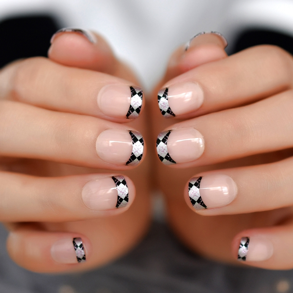 Glitter French Nails Square Nude Short Nails Nature Silver Pattern