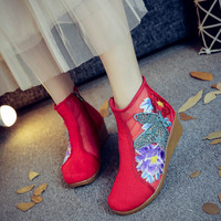 Chinese Women Boots New Arrival Fashion 2018 Summer and Spring Shoes Embroidered Casual Mesh Comfortable Breathable Boot