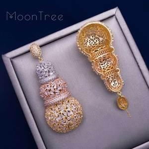Image 4 - MoonTree 68mm דלעת יוקרה עיצוב מלא מיקרו מעוקב Zirconia אפריקאי אירוסין מסיבת שמלת עגיל תכשיטים לנשים