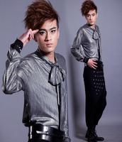 Nightclubs Models Europe British Style Fashion Korean Long Sleeved Shirt Mens Slim Singer Dance Stage Street
