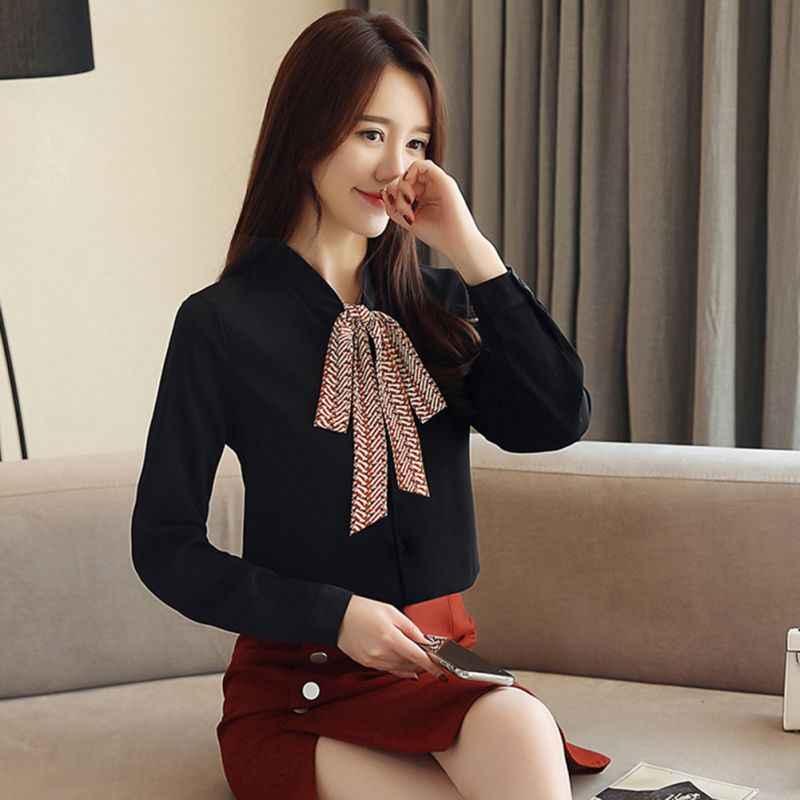 EFINNY Новинка 2019 летняя блузка женские рубашки с длинными рукавами модная шифоновая рубашка с бантом офисные женские черные белые топы