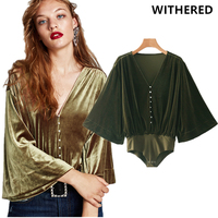 Withered Bts Blusas Women Blouse Pearl Button Kimono Style V Neck Collar Flare Sleeve Velvet Casual