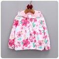 Criança meninas Floral hoodies Primavera/Outono Crianças Outwear jaqueta 2-6y meninas da escola da menina de flor Com Capuz Blusão Jaquetas
