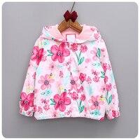 Toddler girls Floral hoodies Spring/Autumn Children Outwear flower girl Hooded jacket 2-6y school girls Windbreaker Jackets