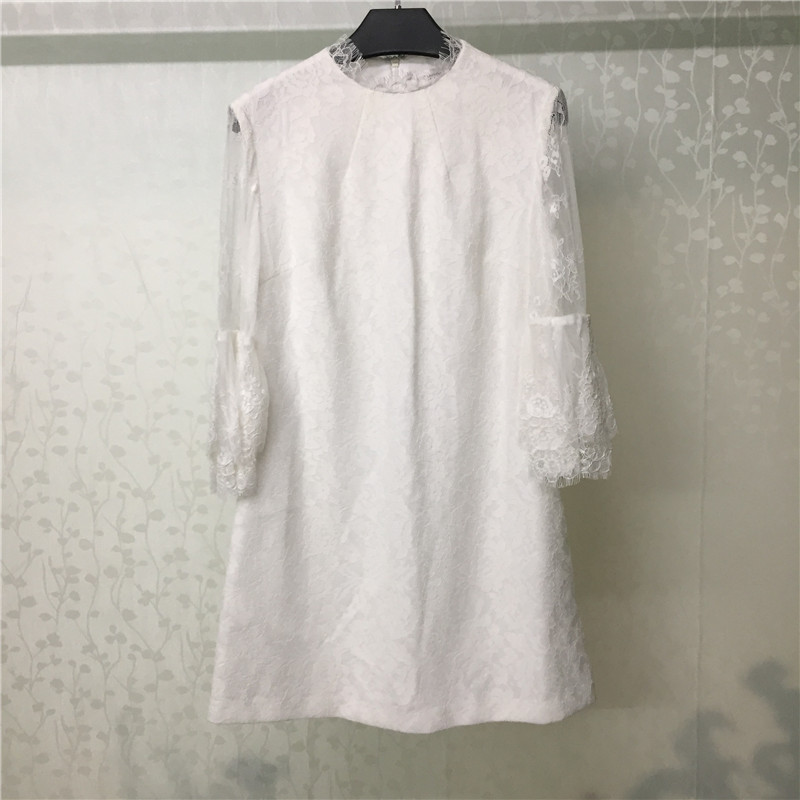 Autumn Dress Women 2019 Casual Elegant Lace Sleeve Dresses Female A Line Mini White