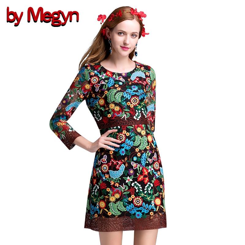 2016 Autumn Women Runway Dress High Quality 3 4 Sleeve Vintage Ethnic Flowers Embroidery Bodycon Mini