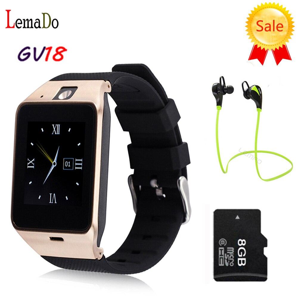 Lemado GV18 Smart Watch Aplus Clock Sync Notifier Support TF SIM Card Bluetooth Smartwatch for Samsung