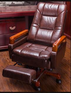 Real leather computer chair. Massage chair can lie home office chair. Real wood swivel chair28 240320 home office can lie down high density inflatable sponge 360 degrees can be rotated computer chair boss massage chair