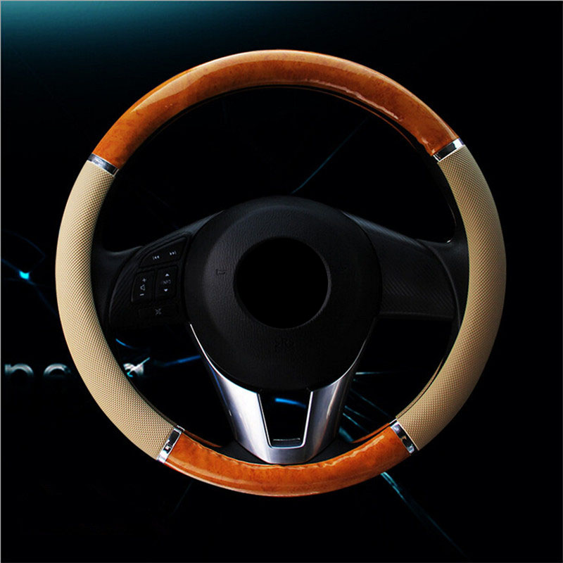 Pokrowiec na kierownicę z włókna węglowego Pokrywy na kierownicę z drewna Mahogany Retro Skórzane koła kierownicy Piasty Akcesoria do wnętrza samochodu